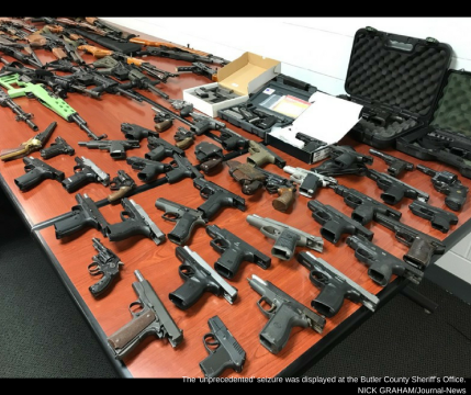 More that 100 firearms seized from a West Chester Twp. home displayed at the Butler County Sheriff_s Office. NICK GRAHAMSTAFF Staff Writer (1)